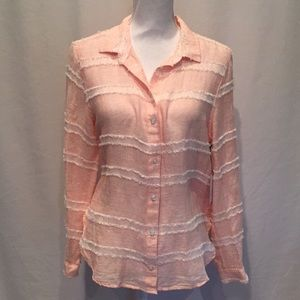 Bella Dahl Peach Linen Blouse Frayed Stripes NWT